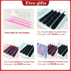 Image 2 - NATUHANA Free shipping 6Rows Ombre Blue Purple Color Eyelash Extension Individual Faux Mink False Eye Lashes Professional Salon