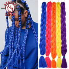Jumbo Braiding Hair Synthetic-Hair-Extension Afro Pink Pre-Stretched Black 165g for Blue