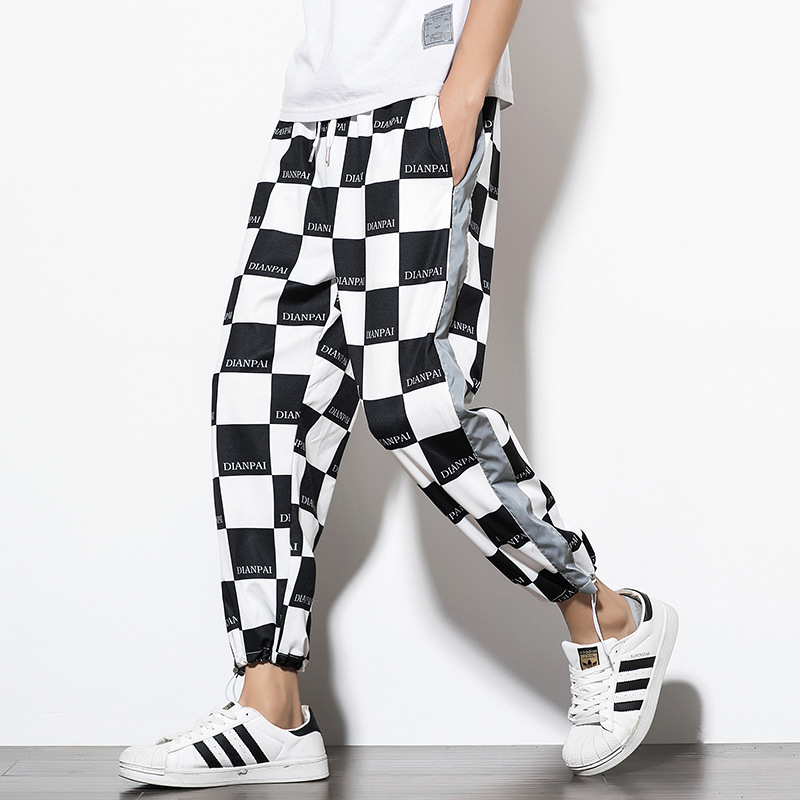 Reflective Streetwear Pants Men Jogger Ankle-Length Harem Pants Splice Black white Lattice Joggers Trousers Men Pants Casual