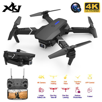 XKJ 2020 New Quadcopter E525 WIFI FPV Drone With Wide Angle HD 4K 1080P Camera Height Hold RC Foldable Quadcopter Dron Gift Toy fema e525 e525s gps drone with 4k 1080p 5g wifi fpv hd wide angle camera foldable mini dron rc quadcopter follow me vs e520s