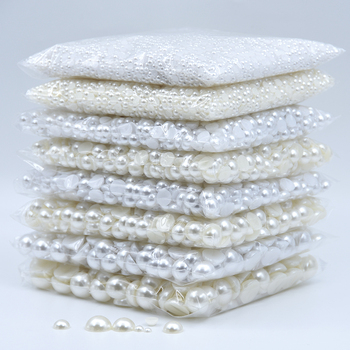 3/4/5/6/8/10/12/14/16mm medio redondo cuentas de perlas planas de imitación acrílicas de marfil blanco para hacer joyas/Arte de uñas/Dec de teléfono