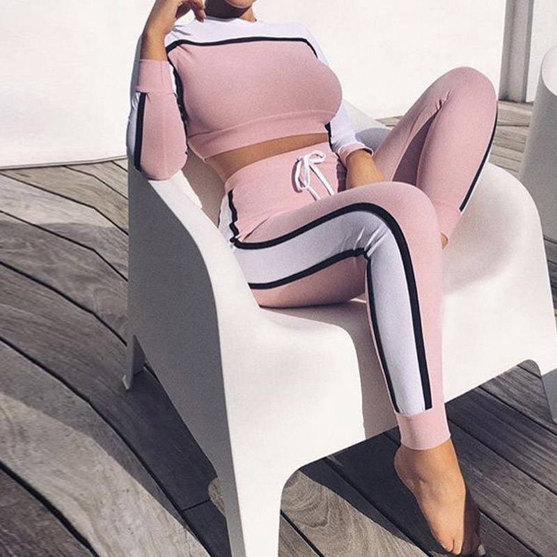 NORMOV 2019 Fall Winter Tracksuit Women Two Piece Set Top And Pants Striped Color Block Sweat Suits Sexy Skinny O-Neck Set