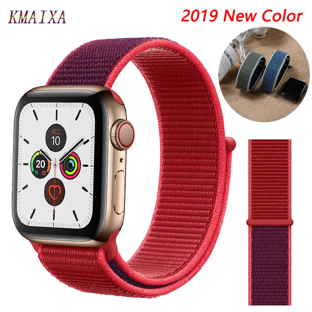 Tali untuk Apple Watch 5 4 Band Correa Apple Watch 42mm 44 Mm 38 Mm 40 Mm IWatch Seri 5 4 3 2 1 Nilon Pulseira Gelang Gelang Jam