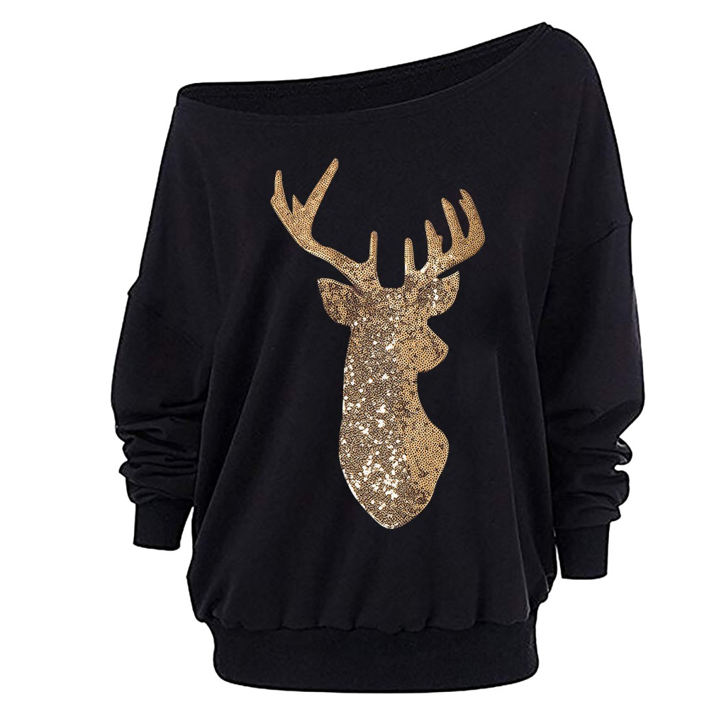 Christmas Sweatshirt Women's Fashion Elk Print Loose Long Sleeve Off-shoulder Hoodies Sweatshirt Pullover Sexy Funny Tops Xmas