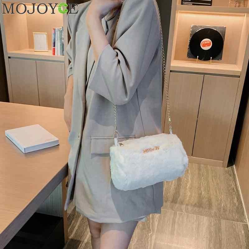 Модная женская плюшевая сумка-мессенджер Осень Зима Пушистый цилиндр клатч с цепочкой, на молнии женские сумки через плечо для покупок