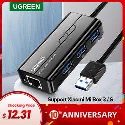 Ugreen USB Ethernet USB 3.0 2.0 כדי RJ45 רכזת עבור שיאו mi mi תיבת 3/S סט-למעלה תיבת Ethernet מתאם רשת כרטיס USB Lan