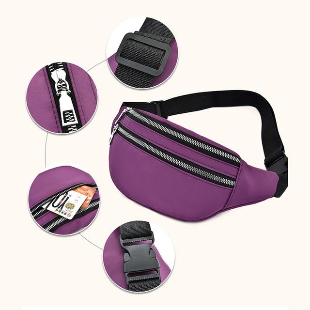 Waist Bag Women Fanny Pack Oxford Female Hip Bum Bag Men Banana Bag Women`s Belt Pocket Ladies Belly Money Pouch Fashion Purse 4