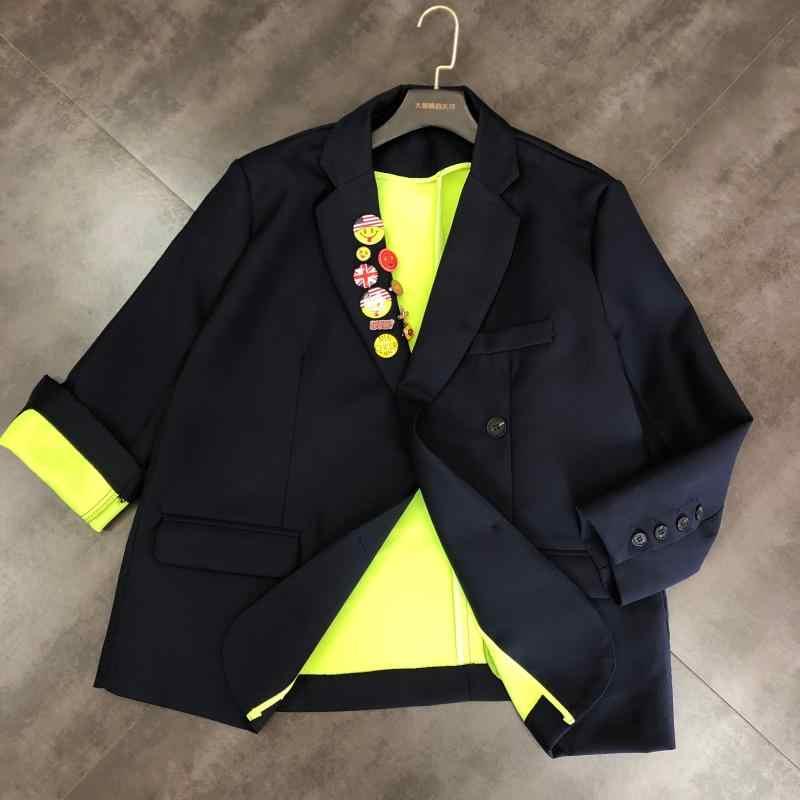 2019 новый осенний значок, декоративный флуоресцентный зеленый костюм с длинными рукавами, куртка для женщин, модный Блейзер, костюм, пальто, верхняя одежда