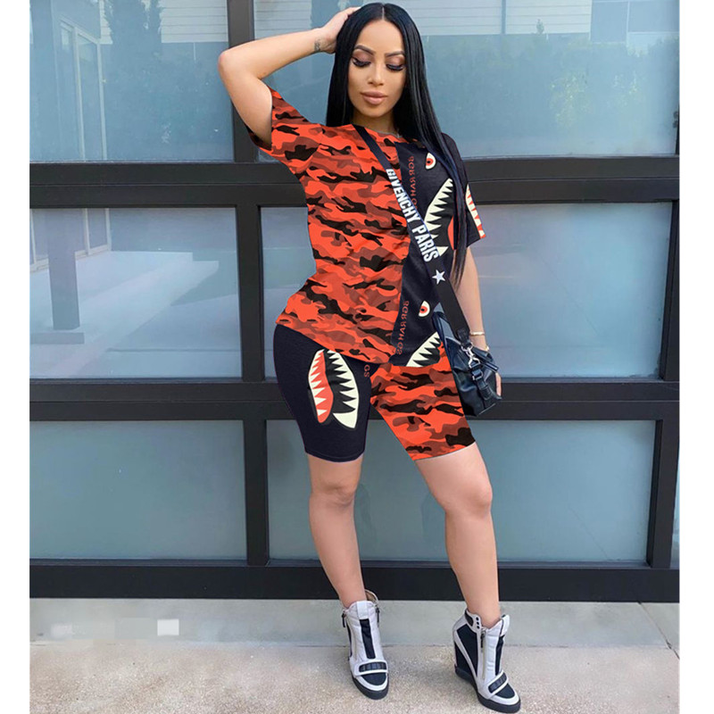Casual Summer Two Piece Set 2020 Splicing Printing T Shirt & Shorts 2 Piece Outfits Tracksuit Women Joggers Suit Matching Sets