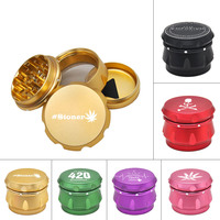 1X High Quality Dia.56MM 4 Parts Aluminum Tobacco Grinder Crusher Herb Spice Grinder With Storage Case
