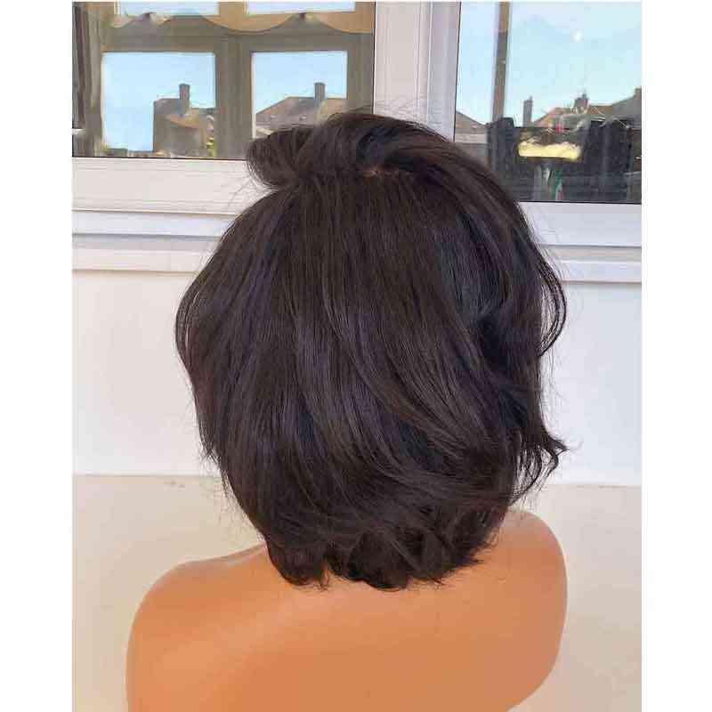 Nudos blanqueados 13x6 frente de encaje brasileño falso cuero cabelludo Invisible corto Bob peluca parte profunda Remy pelucas de cabello humano prePlucked para las mujeres