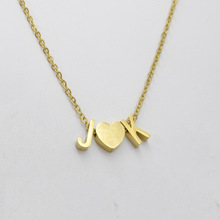 New Fashion Heart Letter Necklace for Women Stainless Steel  J Love K Couple Name Pendant Necklace Charms Jewelry A-Z Letter