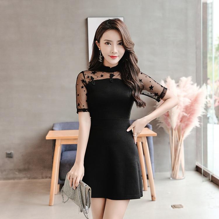 Dress 2018 Summer Wear New Style WOMEN'S Dress Korean-style Slim Fit Waist Hugging Formal Dress-Style A- Line Skirt