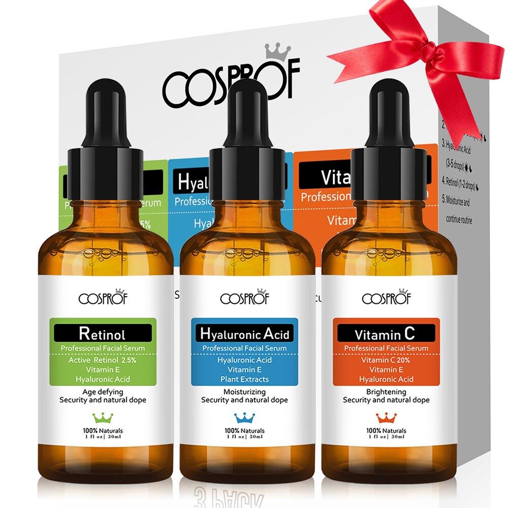 Cosprof 3Pcs Vitamin C Hyaluronic Acid Retinol Serum Moisturizer Facial Skin Care Set Anti Wrinkle Anti Aging Collagen Essences