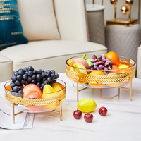 Luxury Phnom Penh Leaves Garland Glass Plate For Snack Candy Fruit Home Living Room Decor Fruit Plate Bowl Candy Dish Ornament