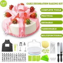 Bicos de confeiteiro de aço inoxidável, bicos para creme com saco de pastelaria, decoração de bolo, ferramenta de confeitaria, 127 pçs/set