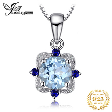 JewelryPalace Natural Blue Topaz Pendant Necklace 925 Sterling Silver Gemstones Choker Statement Necklace Women Without Chain недорого