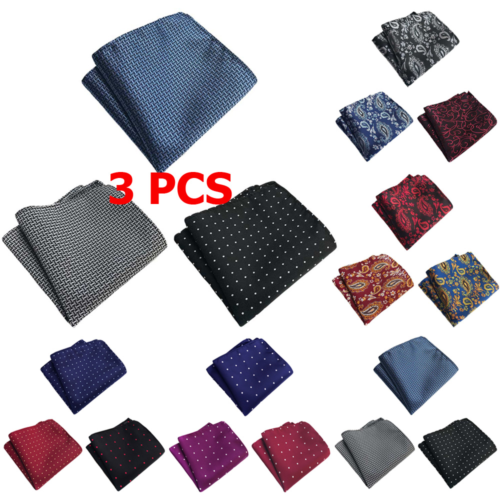 3 PCS Mens Polka Dots Paisley Pocket Square Handkerchief Wedding Party Hanky