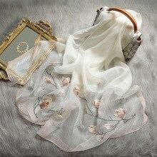Однотонный Шелковый женский шарф, зимние теплые шерстяные шали, женские шарфы, роскошная вышивка, предупредительные шарфы, новинка 2020