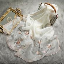 الصلبة الحرير وشاح المرأة شتاء دافئ الصوف شالات سيدة يلتف Bufanda الأزهار الباشمينا الفاخرة التطريز تحذير الأوشحة 2020 جديد