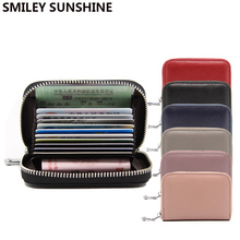 Women Genuine Leather Mini Wallet Short Zipper Card