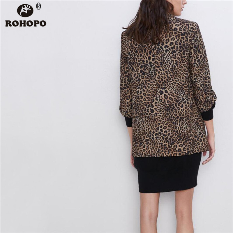 ROHOPO Autumn Animal Printed Blazer Long Sleeve Ruched Buckle Cuff Notched Collar Leopard Ladies Outwear #2201