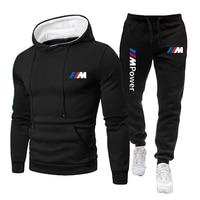 Conjunto de 2 piezas para hombre, chándal con estampado de poder, Sudadera con capucha, pantalones, Jersey, ropa deportiva informal