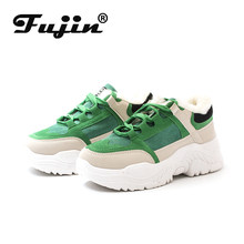 Fujin plattform schuhe frauen grün blau plüsch warme pelz frauen casual schuhe lace up dicken atmungs frauen winter schuhe stiefel(China)