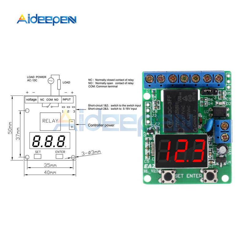 DC12V/24 V светодиодный цифровой дисплей управления релейный модуль обнаружения напряжения зарядка монитор выгрузки тест Реле Переключатель
