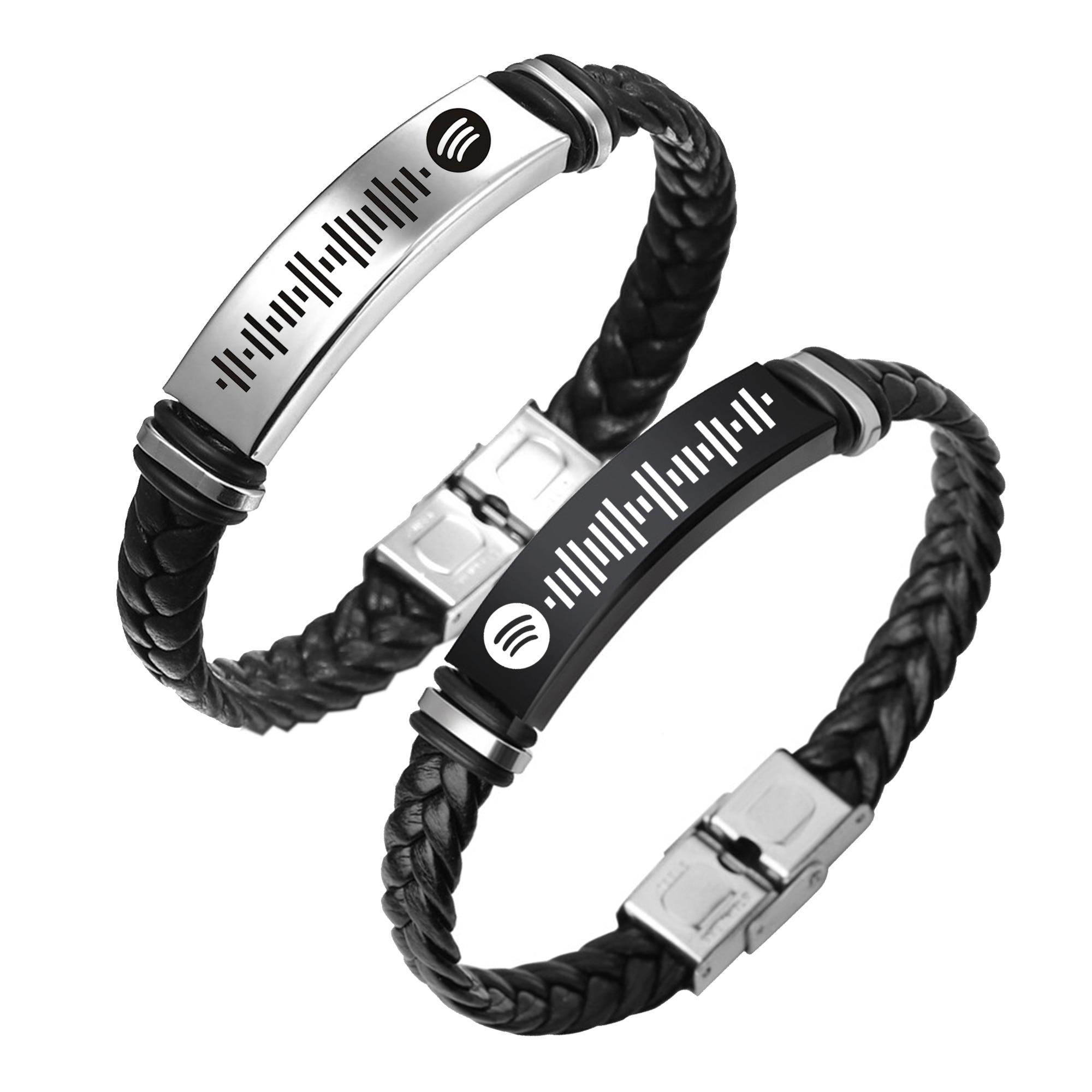 Пользовательская музыка Spotify Scan кодовый браслет для женщин мужчин PU кожаный браслет Персонализированная песня код ювелирные изделия для па...