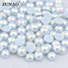JUNAO – autocollants pour décoration des ongles, Imitation de perles demi-rondes, gris AB, 2 4 6 8 10 12 14mm