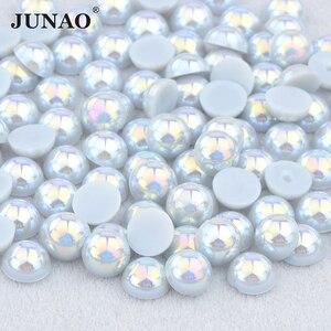 JUNAO 2 4 6 8 10 12 14mm gris AB imitación Flatback perla mitad ronda cuentas de pegamento en piedras de cristal calcomanías para arte de uñas Decoración