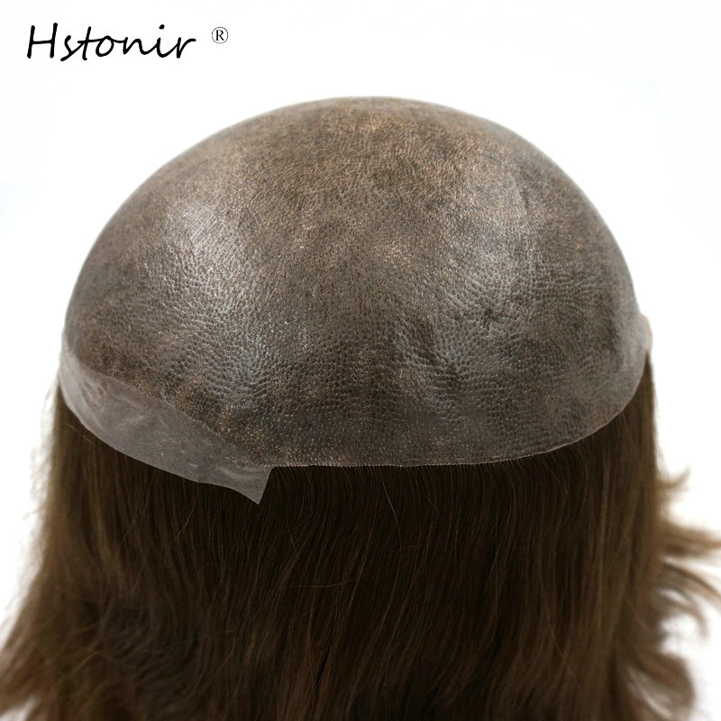 Hstonir Adhesive Toupee European Remy Hair Injection Silky Straight Men Women Replacement Systems 7x9 Inch Stock H076