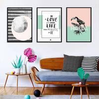 Norte europeu estilo criativo personagem gráficos boca longa pássaro pintura da lona decoração para casa wu kuang hua xin biblioteca cama|  -