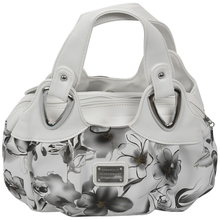 Fashion handbag Women PU leather Bag Tote Bag Printing Handbags Satchel -Ink gray flower + white Handstrap tomubird new superior cowhide leather designer inspired flower ladies handmade leather tote satchel handbags