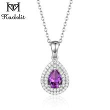 Kuololit 585 Created Alexandrite Gemstone Pendant For Women Solid 925 Sterling Silver Corundum 46# Gemstone Water Drop Necklace