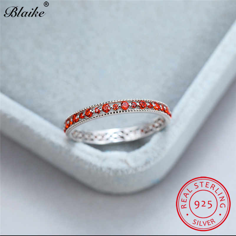 925 เงินสเตอร์ลิงแหวนผู้หญิง Rose Gold Wedding Bands สีแดงสีดำสีฟ้า Zirconia Minimalist หมั้นแหวนเครื่องประดับ