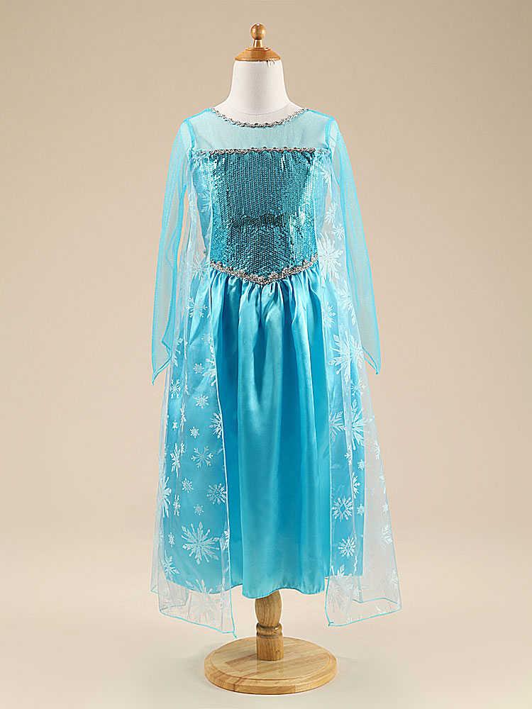 3-10Yrs Kinder Prinzessin Elsa Kleid für Baby Mädchen Halloween Kleidung Kinder Tragen Cosplay Elsa Kostüm Weihnachten Party Mit Krone