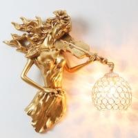 European Violin Girl Led Wall Lamp Vintage Gold Crystal Sconce Wall Light Fixtures Living Room Bedroom Lighting Home Art Decor