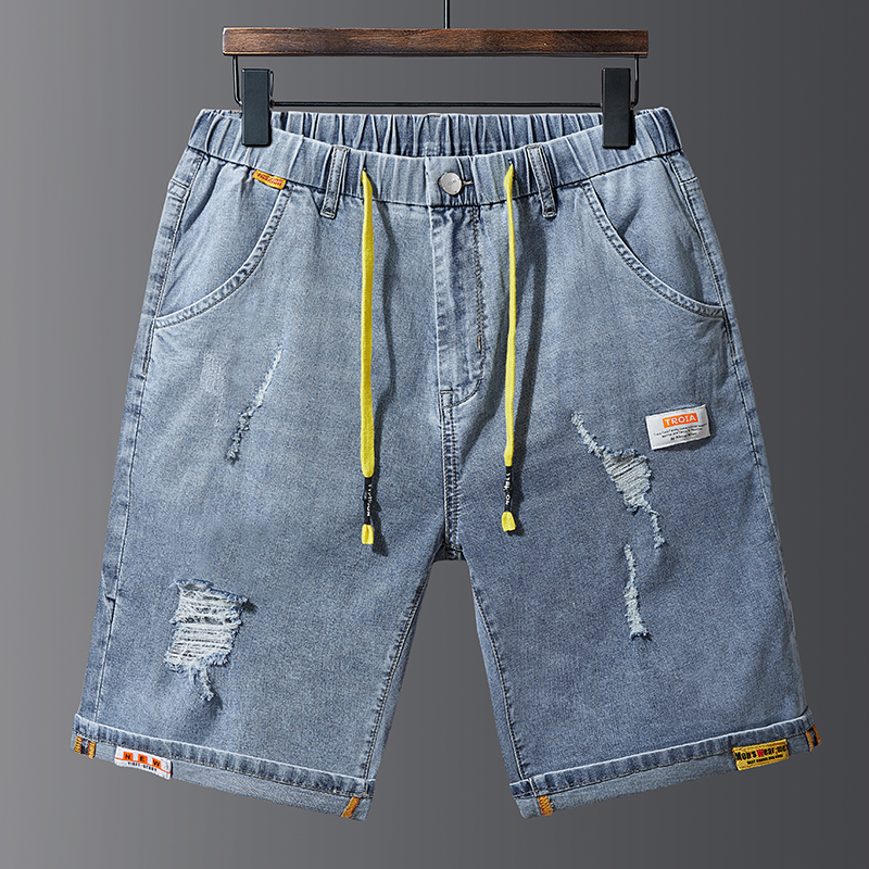 Large Size 38-48 Shorts Men Jeans Brand-Clothing Retro Nostalgia Denim Bermuda Shorts Blue Drawstring With Elastic Waistband