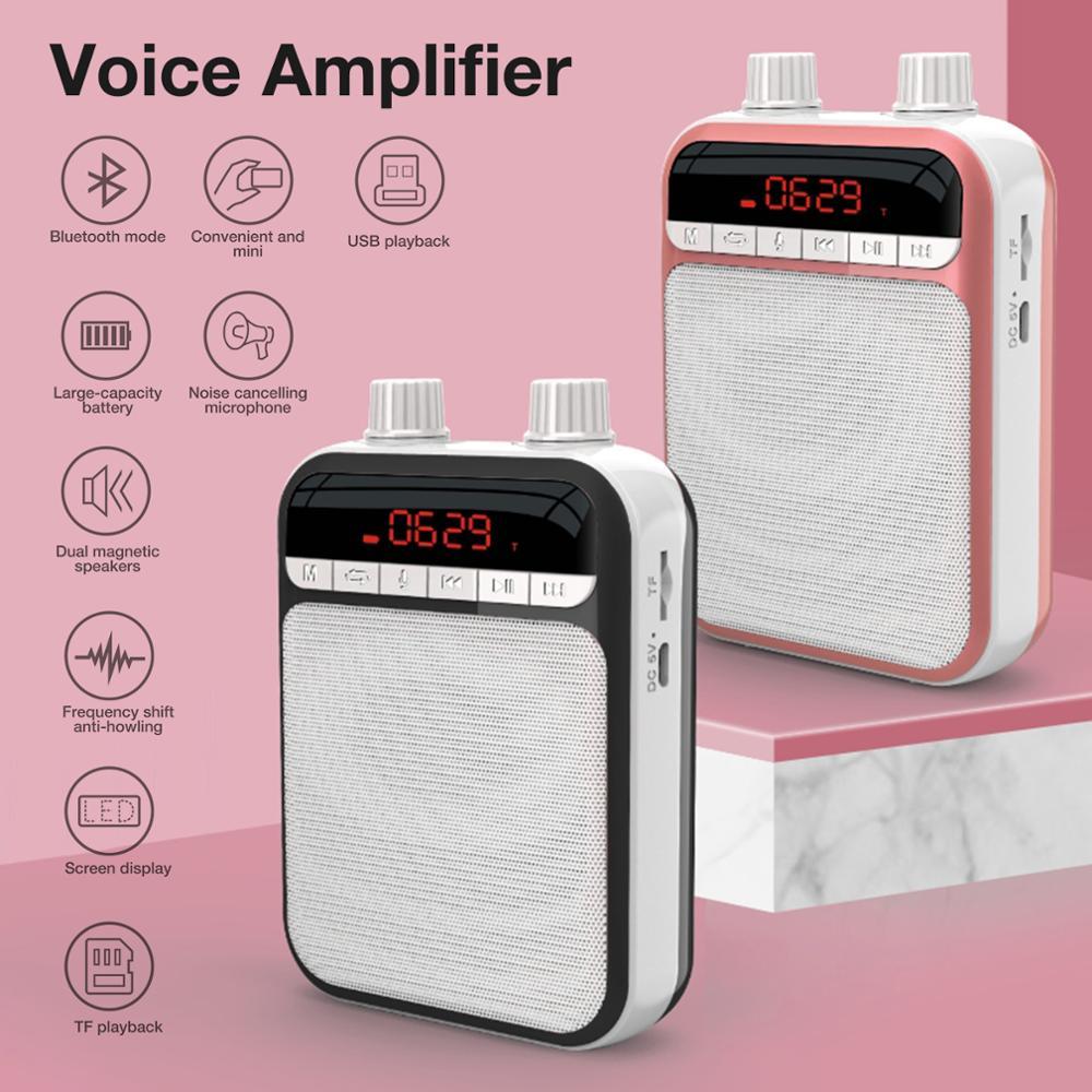 K5 Portable Megaphone Voice Amplifier Radio with Wired Mic Headset Belt Loudspeaker amplificador de voz Bluetooth Audio Speakers