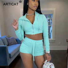 Articat Bodycon Cotton Hoodied Two Piece Set Women Solid Long Sleeve Crop Top Shorts Casual Outfits Tracksuit Sporty Activewear