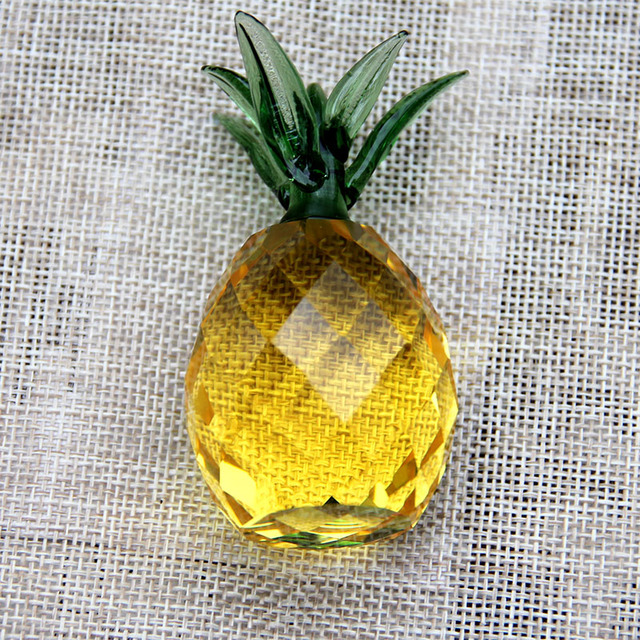 3/4cm Crystal Pineapple Figurine Glass Fruit Paperweight Home Decoration Ornaments Party Birthday Christmas Gifts Miniature 2