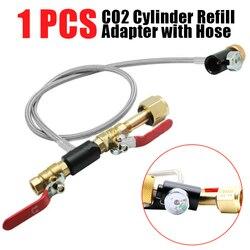 CO2 cylindra Adapter do napełniania z wąż wysokociśnieniowy do napełniania butelka zbiornik cylindra wypełnione powietrzem Adapter inflacji W/Gauge