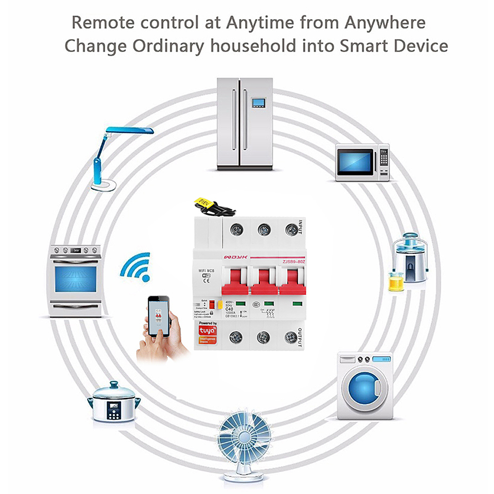 Smart Life(tuya) 3P WiFi Smart Circuit Breaker overload short circuit protection with  Amazon Alexa google home for Smart Home 5