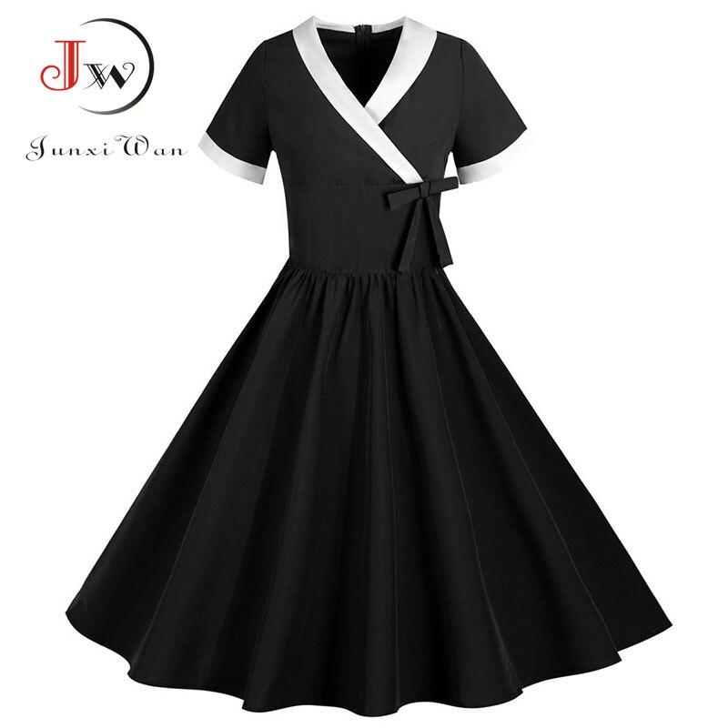 Yellow Bow V Neck Elegant Office Party Dress Women Summer Vintage High Waist Swing A-line Midi Sundress Plus Size Robe Femme 5