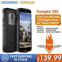 Real IP68 DOOGEE S55 Smartphone resistente al agua 4GB RAM 64GB ROM 5500mAh MTK6750T Octa Core 5,5 pulgadas Android 8,0 Dual SIM 13.0MP 4GLTE