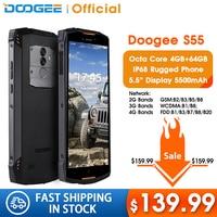 Real IP68 DOOGEE S55 waterproof Smartphone 4GB RAM 64GB ROM 5500mAh MTK6750T Octa Core 5.5inch Android 8.0 Dual SIM 13.0MP 4GLTE|Cellphones| |  -
