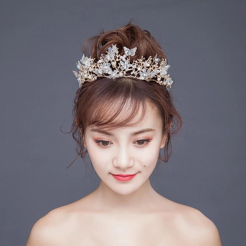 Bridal Hair wedding hairpiece hair accessory Pageant Hair wedding tiara Hairpiece Butterfly Gold Tiara gold tiara pageant