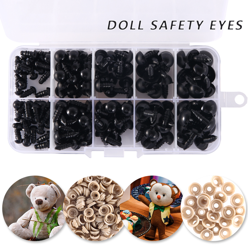 150PCS Plastic Eyes Black Nose Doll Safety Nose Suitable For Teddy Bear Plush Toys Doll Amigurumi Safety Nose Eyes
